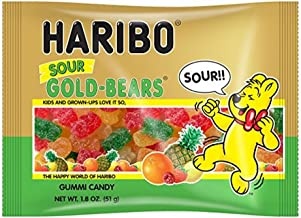 Haribo New Sour Gold-Bears Gummi Candy in 1.8 oz Individual Serving Size Bags (Case of 24)
