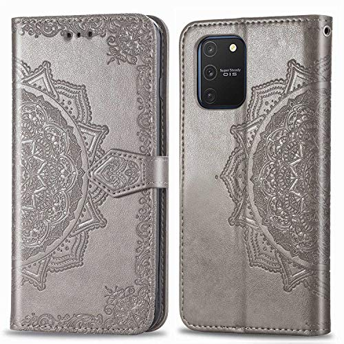 Bear Village Hülle für Galaxy S10 Lite/Galaxy A91, PU Lederhülle Handyhülle für Samsung Galaxy S10 Lite/Galaxy A91, Brieftasche Kratzfestes Magnet Handytasche mit Kartenfach, Grau