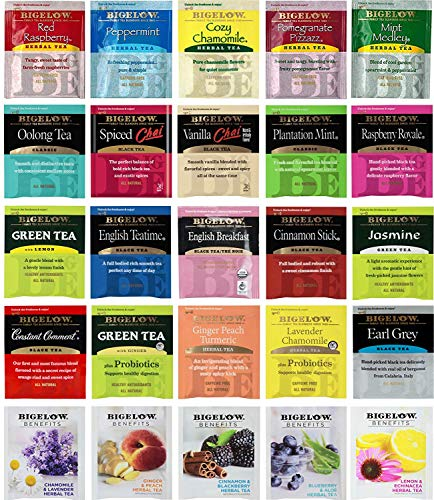 Tea Bags Sampler Assortment Variety Pack Gift Box - 49 Count - Perfect Variety - English Breakfast, Green, Black, Herbal, Chai Tea and more