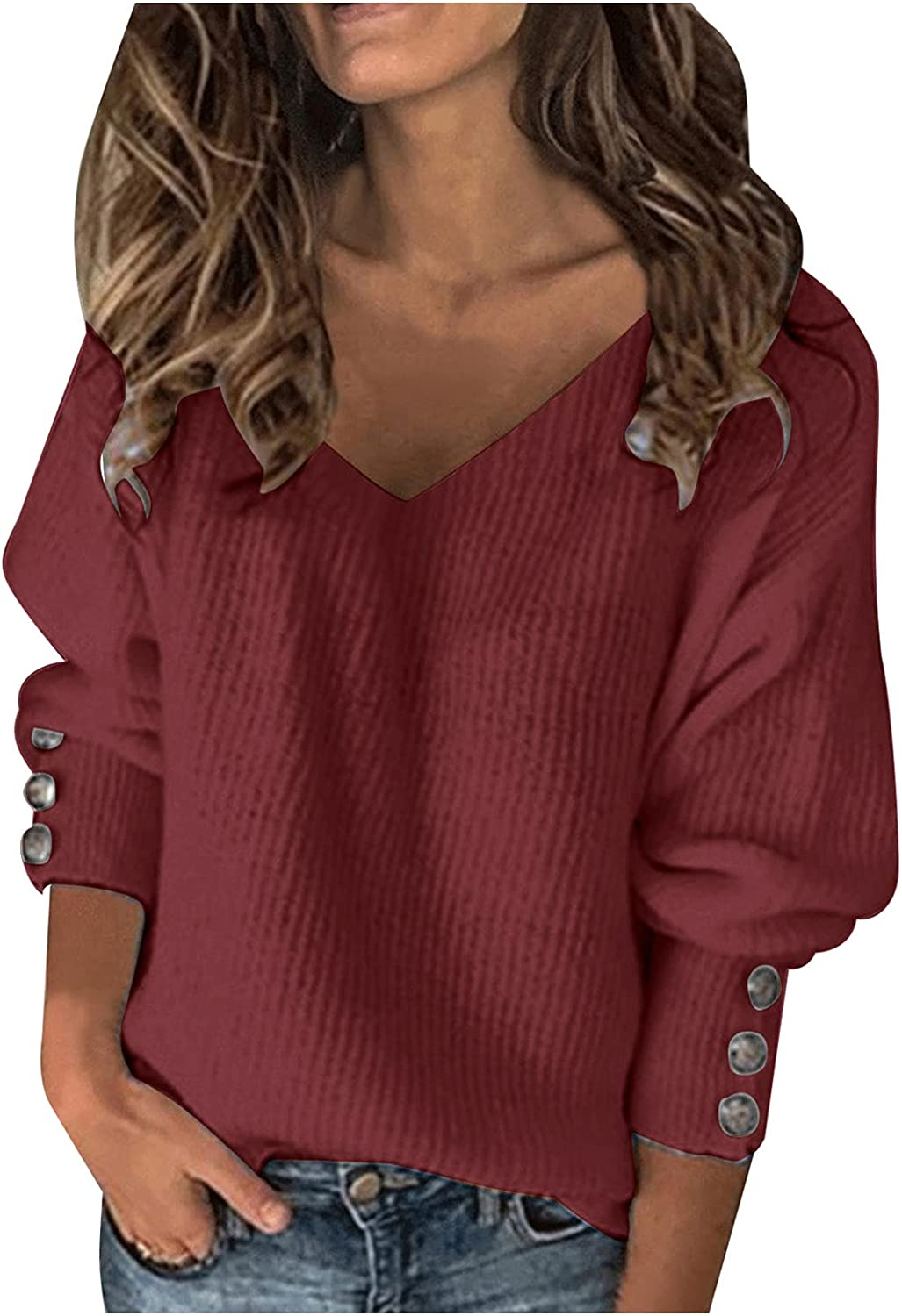 Oversized Sweatshirt for Women Vintage Sexy V Neck Long Sleeve Button Down Solid Pullover Loose Trendy Top With Design