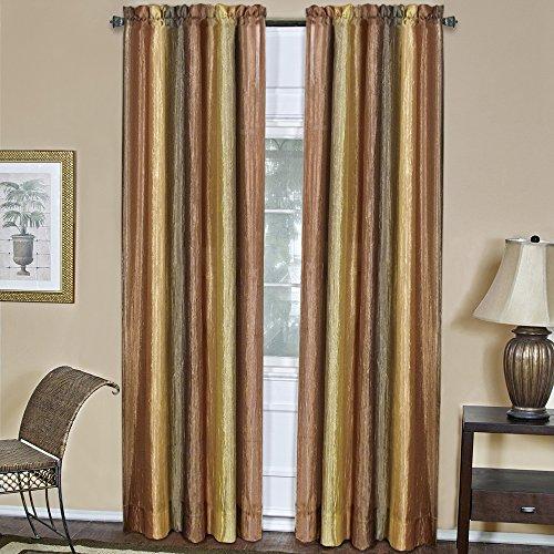 "Designer Home Multi-Color Striped Modern Semi-Sheer Window Curtain Drape 2-Pack Panels (Beige, 50"" x 84"" 2-Pack Panel)"