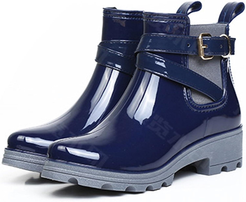 Women's Fashion Waterproof Block Heel Ankle Rain Boots
