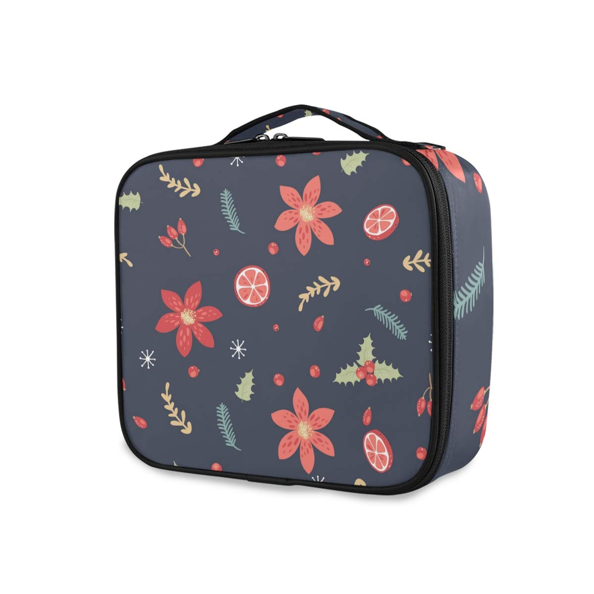 Mr.Lucien Travel Makeup Train Case Christmas Flowers Colorful Th Max 68% OFF Cheap