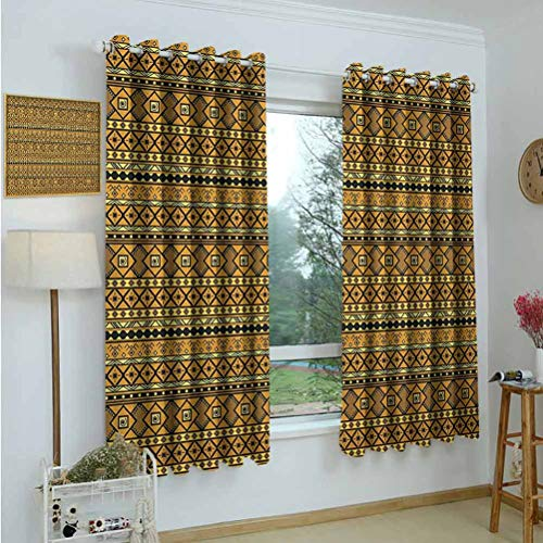 Gardome Living Room Curtains Tribal,Geometric Pattern with Origins Exotic Folk Influences,Amber Yellow and Black,Blackout Curtains for Bedroom Living Room 52'x63'