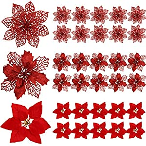30 Pieces Glitter Poinsettia Artificial Christmas Tree Ornament Christmas Flowers for Xmas Valentine's Day Spring Festival Wedding Decorations (Red)