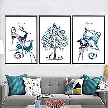 Deer Painting Mural Paintings Wall Decoration Foam Frame Home Living Room Bedroom Den Hotel 40 * 60cm WANGXINQUAN