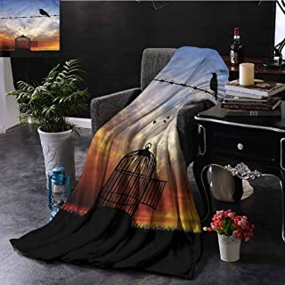 Barbed Wire King Size Throw Blanket Escaped Sparrow Sunset Sofa Camping Reading Car Travel W54 xL72