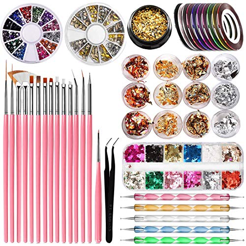 Kit de Herramientas de Manicura de Uñas, 15 Cepillos para uñas,5 herramienta de punteado, 12 color Lámina Paillette Flake,10 Cintas de rayas, 3 caja decoración de uñas, 1 caja Lentejuelas mariposa