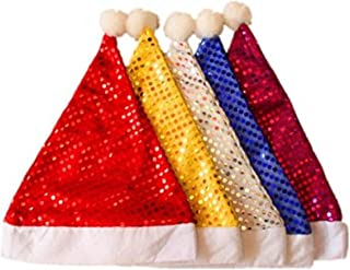 Y&Y Star Pack of 5 Sequin Santa Christmas Hat for Adults Men & Women. Yellow, White, Blue, Purple,Red