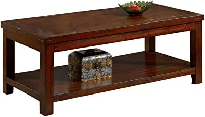 Benjara Traditional Coffee Table with Rectangular Top and Tapered Legs, Brown