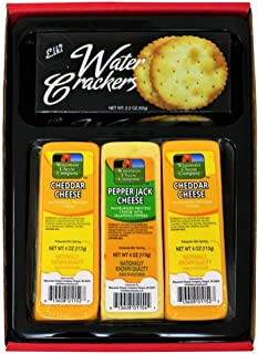 WISCONSIN CHEESE COMPANY'S   Cheese and Cracker Gift   Wisconsin Cheddar Cheese & Crackers Gift Box  100% Wisconsin Cheddar Cheese and Pepper Jack Cheese. A Great Gift Idea to Send!