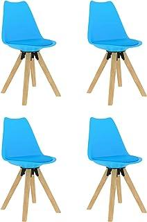 Tidyard Sillas de Comedor Sillas Cocina Sillas Salon Sillas de Comedor 4 Unidades Azul