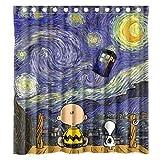 zhanghui2018 Tolles Snoopy & Sternennacht, strapazierfähiger Stoff, schimmelresistent, Badezimmer-Zubehör, kreativ, mit 12 Haken, 180 x 180 cm