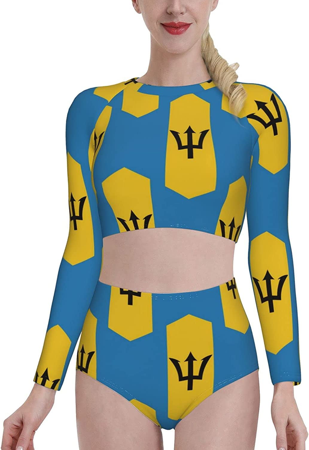 Retail Sign Systems Barbados Flag Womens Two Piece Swimsuit Long Sleeve Rash Guard Swimwear