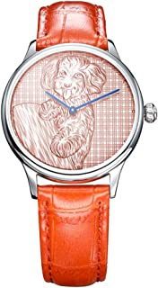 Wrist Watches for Women, 999 Fine Silver Emboss Carving A Vivid and Lovely Teddy, Switzerland Quartz Movement Analog Display Quartz Watch,Rosegolddial