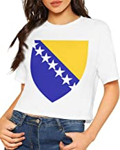 X-JUSEN Women's Coat of Arms of Former Yugoslav Republic of Macedonia National Emblem Short Sleeve Bare Midriff Cotton T Shirts Pullover Tee, Sexy Crop Tops