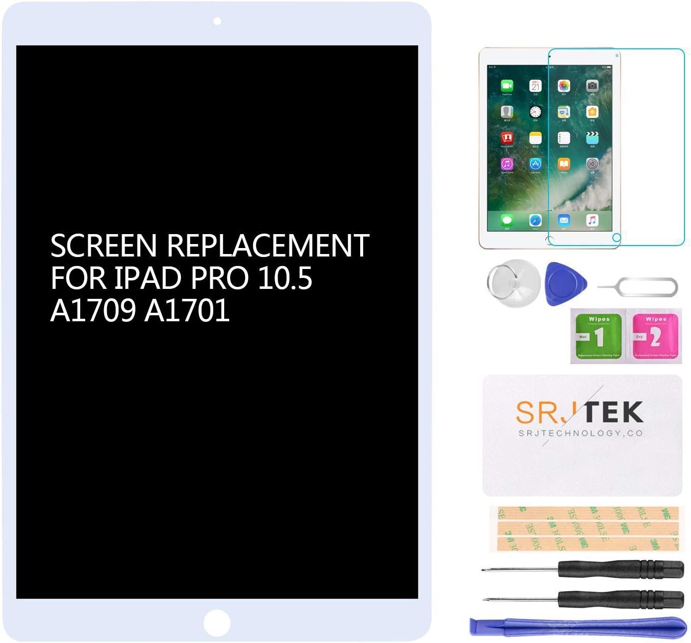 for iPad Pro 10.5 A1701 A1709 Screen Replacement LCD Display LCD Display Matrix Touch Screen Digitizer Tablet Assembly no Home Button EMC 3140 3141