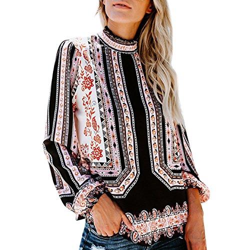 NEEKY Frauen Freizeit Chiffon T-Shirt Kleidung, Damenmode Beiläufig Print Langarm Stehkragen Bluse Tops(EU:40/CN:XL, Schwarz)