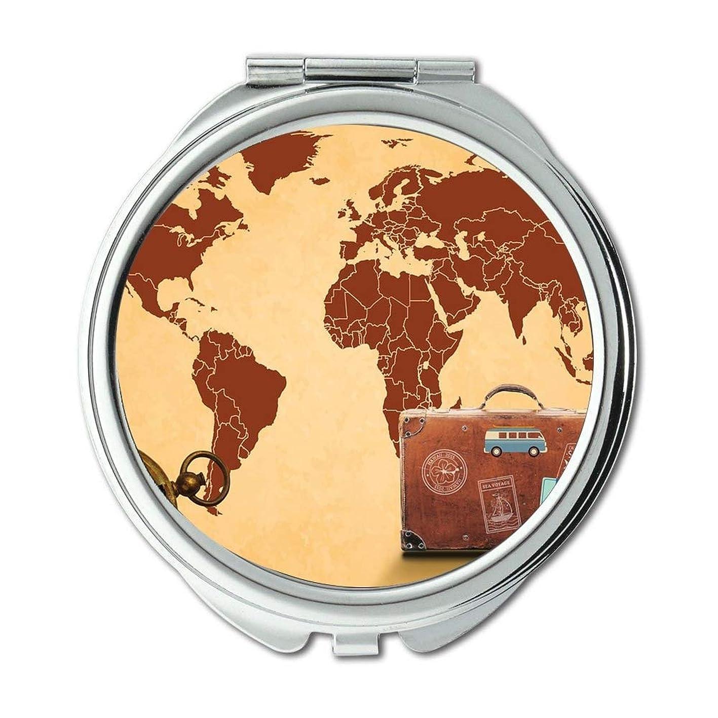 約束する移行する簡単にポケットミラー、コンパクトミラーラウンドコンパクトミラー男性/女性MT 054のための両面、世界の地図の財布のミラー