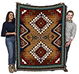 Brazos - Southwest Native American Inspired Tribal Camp - Cotton Woven Blanket Throw - Made in The USA (72x54)