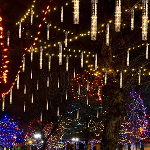 Meteorschauer Lichter, CrazyFire 10cm 10 Röhren Meteorschauer Regen Lichter, Wasserdichte Schneefall Lichterkette, Fallende Lichter für Zuhause, Festival, Garten, Weihnachten Dekoration - Warmweiß