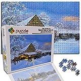 GFSJJ Puzzle 1000 Piezas 1000 Piezas Jigsaw Puzzles para Adultos Kids Infantiles Adolescentes Entretenimiento Adultos Y Kids (15 X 10.2 Pulgada) Edificio Navideño Alberga Escena De Nieve.