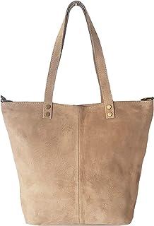 33 x 42 x 15 cm Laptop e shopping bag in vera pelle scamosciata con manici extra lunghi e Tasca interna con zip MADE IN ITALY SKUTARI/® PELLE LOVE Ruvido Shopper in camoscio