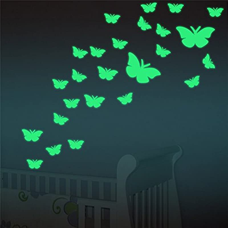 Marsway 12 Pcs Butterflys Night Glow Sticker Luminous Removable Adhesive Kids Room Wall Decal