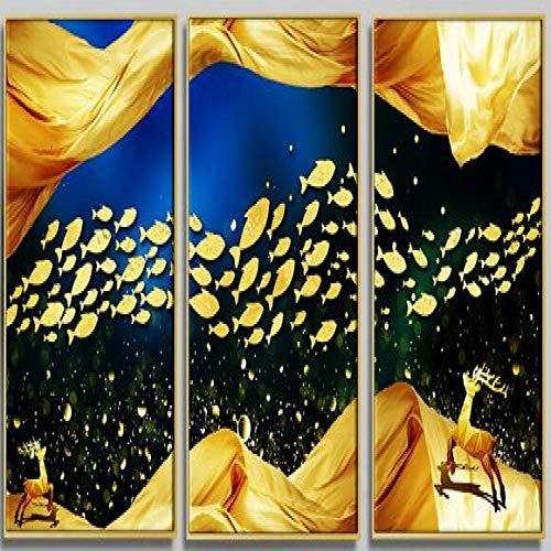 sanzangtang Verschönert mit 3 nordischen Hirsch Tiere HD Print Leinwand Malerei Wohnzimmer Dekoration Wandkunst modulare Poster Schlafzimmer