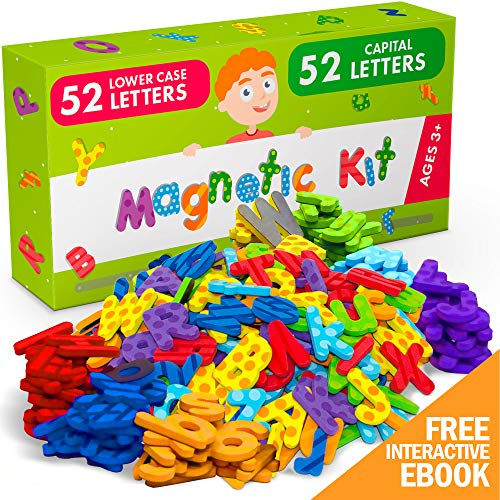 Alphabet Magnets for Toddlers and Kids - 104 PCs Premium Foam Magnetic Letters - 52 PCs Uppercase and 52 PCs Lowercase ABC Magnets - Ideal Educational Toy