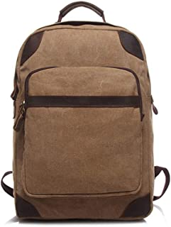Vintage Canvas Backpack, Outdoor Travel Mountaineering School Computer Backpack Crazy Horse Skin Wear Resistant (Color : Brown)