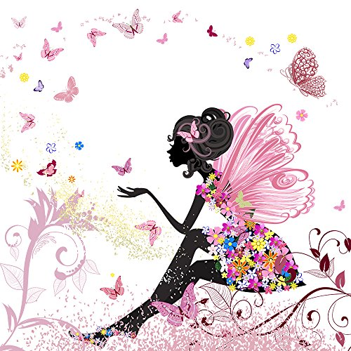 Twuky 5D DIY Diamond Set Full Diamond Diamond Painting Living Room Wall Stickers,Flower Fairy(12X12inch/30X30CM)