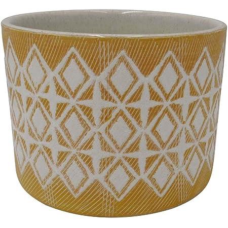 "Amazon Brand – Rivet Geometric Ceramic Planter Pot, 4.1""H, Golden Yellow"