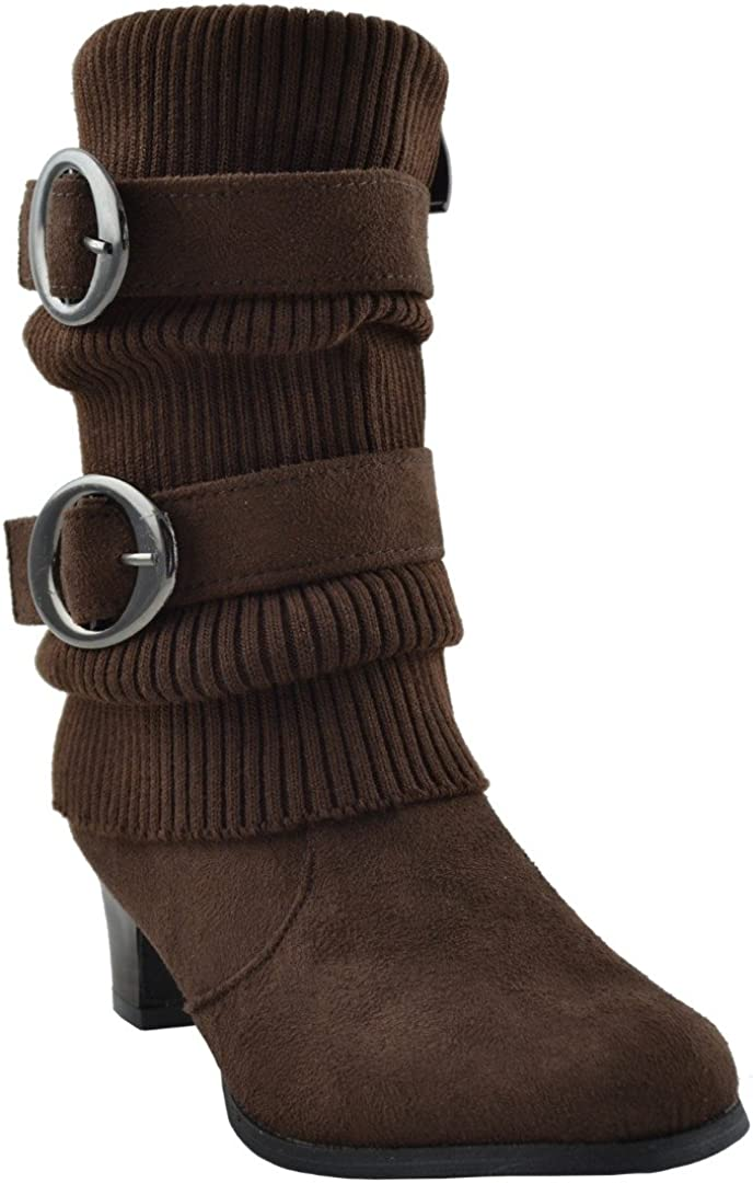 Kids Mid Calf Boots Knitted Side and Buckle Suede Arlington Mall Discount mail order Double