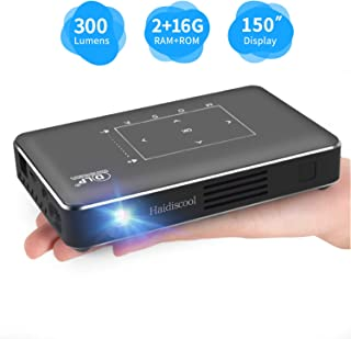 Portable Mini Projector, Haidiscool Pocket Video DLP Android 2+16G Pico Projector 300 ANSI Lumen with BT4.0/USB/HD-in/TF, Support WiFi Wireless Screen Share 1080P Movie, for Outdoor/Home