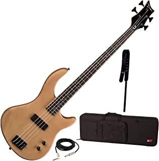 $259 Get Dean Edge 09 Satin Natural Bass Guitar, Wide Leather Strap, and Rigid Case