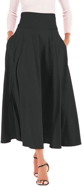 Women's Casual Skirt Solid Color Side Split with Belt Pocket Zipper Half Skirts