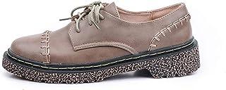 女性の靴ローファーレースアップフラット学生イギリスレトロスタイル屋外靴