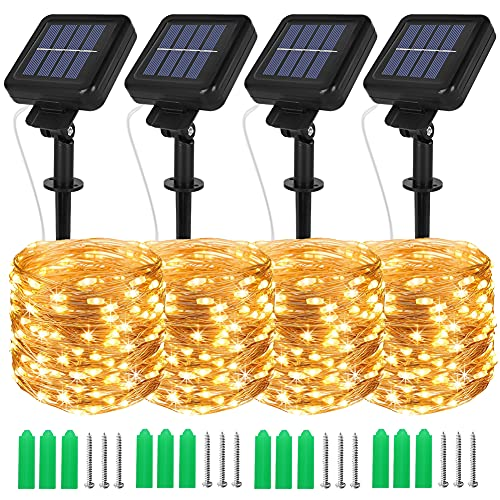 Opard Solar Lights Outdoor Garden, 120 LEDs 12M 8 Lighting Modes Copper Wire Solar Fairy Lights IP44 Waterproof for Patio, Garden (Warm White, 4 Pack)