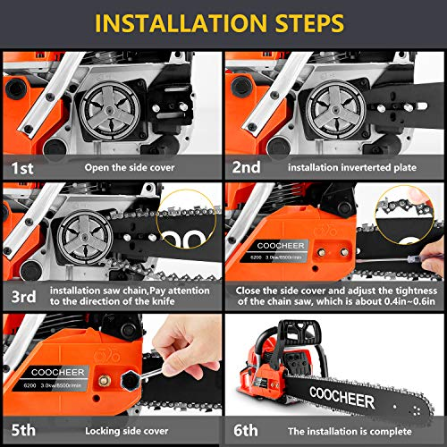 COOCHEER 20 Inch Gas Powered Chainsaw 62CC 2-Stroke Chain Saws with Tool Kit for Cutting Trees, Wood, Orange