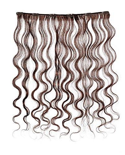 American Dream - A4/QFC12/18/080 - 100 % Cheveux Naturels - Douce Ondultation - Pièce Unique Extensions à Clipper - Couleur 080 - Brun Foncé Moka - 46 cm