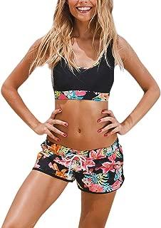 Women's Sport Two Piece Swimsuits with Racerback Crop Top Boyshort Bottom