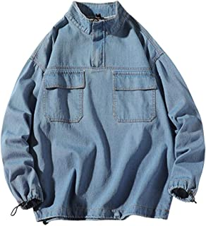 Men's Pullover Autumn Casual Loose Stand Collar Plus Size Tooling Denim Jackets Top with Pocket