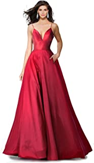 red ball gown with pockets