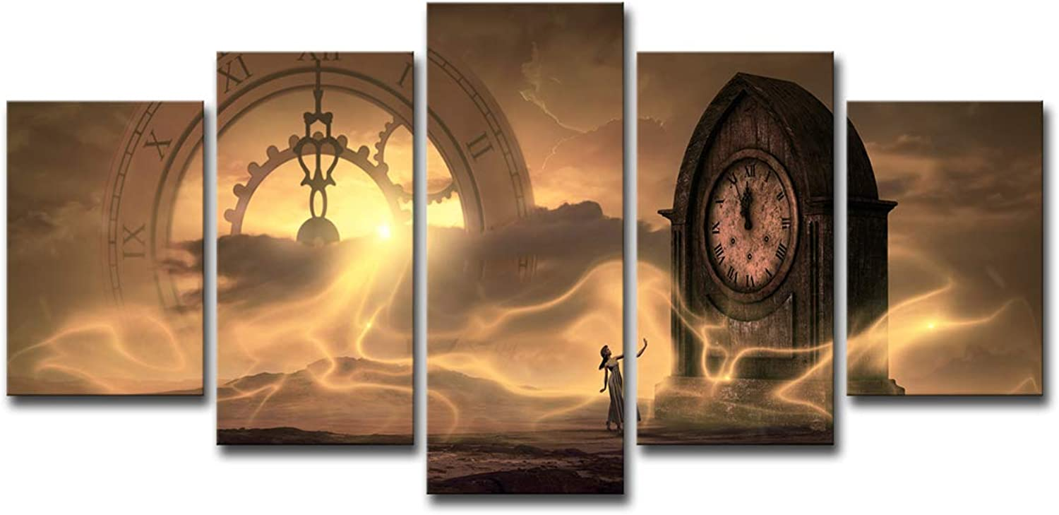 Woman Time Clock Creative Inspiration Design Painting Canvas Wall Art 5 Panel Wall Art Wall Panels Canvas Large Abstract Home Decoration,Withinnerframe,S