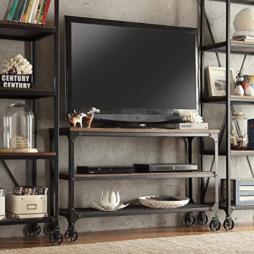 ModHaus Living Modern Industrial Rustic Riveted Black Metal & Wood TV Stand with Decorative Wheels - Includes (TM) Pen (48)