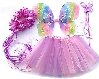 Tante Tina - Schmetterling Kostüm für Mädchen - 4-teiliges Set - Feenflügel / Schmetterlingsflügel Verkleiden - Mehrfarbig