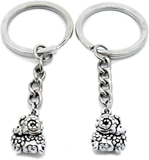 Metal Antique Silver Plated Keychains Keyrings Keytag YK105 Chinese Zodiac Sheep Goat Lamb Key Chain Ring