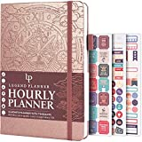 Legend Planner Hourly Schedule Edition - Deluxe Weekly & Daily Organizer with Time Slots. Time Management Appointment Book Journal for Work & Personal Life, Undated, A5 Size Hardcover - Rose Gold