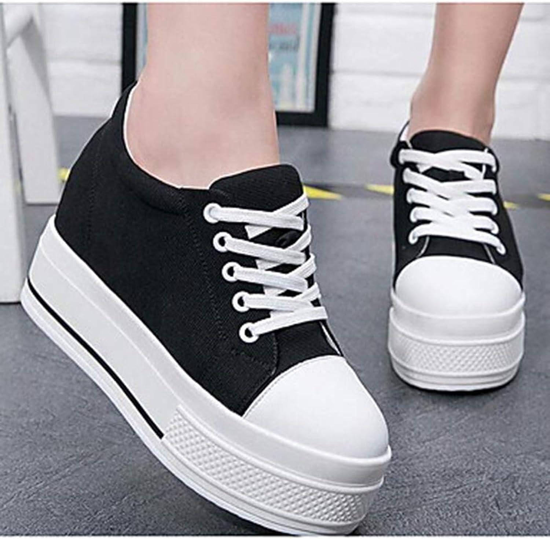 TTschuhe Damen Damen Damen Schuhe Leinwand Frühling Komfort Turnschuhe Creepers Runde Zehe Weiß Schwarz  2a8272
